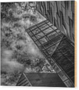 Stormy Clouds Over Modern Building Wood Print