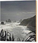 Stormy Coast New Zealand Wood Print