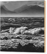Stormy Coast New Zealand In Black And White Wood Print