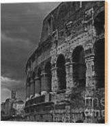 Stormy Colosseum Wood Print