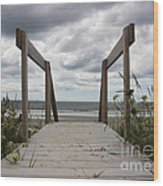 Stormy Day - Boardwalk To The Sea Wood Print