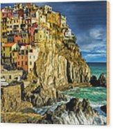 Stormy Day In Manarola - Cinque Terre Wood Print