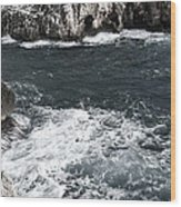 Mediterranean Sea And Rocks Sculpted By Wind And Salt In South Of Menorca Wood Print