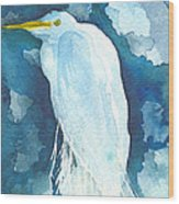 Stormy Egret Wood Print