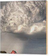 Stormy Homestead Barn Wood Print by Thomas Zimmerman
