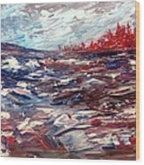 Stormy Lake Abstract Wood Print
