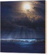 Stormy Moonrise Wood Print