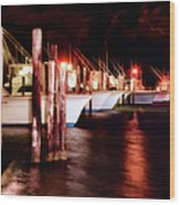 Stormy Night In The Marina - Outer Banks Wood Print by Dan Carmichael