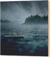 Stormy Night Off The Coast Of Maine Wood Print