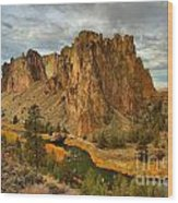 Stormy Over Smith Rock Wood Print