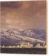 Stormy Reno Sunrise Wood Print
