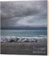 Stormy Sea And Sky Square Wood Print by Colin and Linda McKie