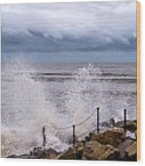 Stormy Seafront  Wood Print