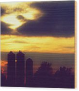 Stormy Silhouette Sunset Wood Print
