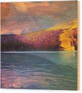 Stormy Skies Over Emerald Lake Wood Print