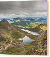 Stormy Skies Over Snowdonia Wood Print by Jane Rix