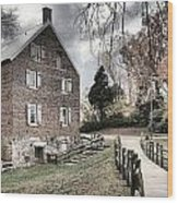 Stormy Skies Over The 1823 Grist Mill Wood Print