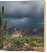 Stormy Skies Over The Superstitions Wood Print