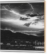 Stormy Sky - Lightening - Small Town Wood Print