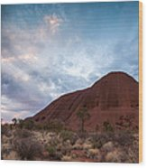 Stormy Sky Over Uluru Wood Print