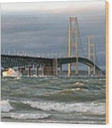 Stormy Straits Of Mackinac Wood Print