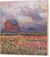 Stormy Sunflower Farm Wood Print