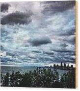 Stormy Sunrise Over Cleveland Wood Print