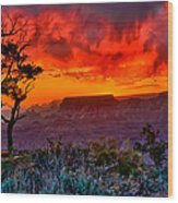 Stormy Sunset At The Watchtower Wood Print