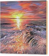 Stormy Sunset At Water's Edge Wood Print