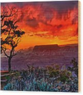 Stormy Sunset Greeting Card Wood Print