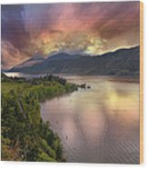 Stormy Sunset Over Columbia River Gorge At Hood River Wood Print