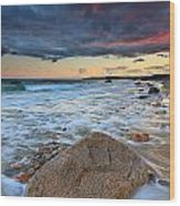 Stormy Sunset Seascape Wood Print