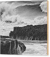 Stormy Surf Wood Print