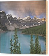 Stormy Weather Over Moraine Lake Wood Print