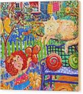 Storybook Girl And Cat Wood Print