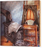 Stove - The Stove And The Chair  Wood Print by Mike Savad