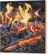 Stove - The Yule Log  Wood Print by Mike Savad