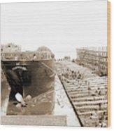 Str. Harvard In The Slip, Detroit, Harvard Freighter, Cargo Wood Print