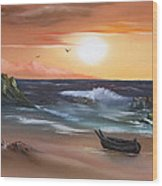 Stranded At Sunset Wood Print by Cynthia Adams