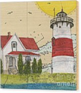 Stratford Pt Lighthouse Ct Nautical Chart Map Art Wood Print