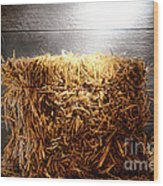 Straw Bale In Old Barn Wood Print by Olivier Le Queinec