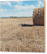 Straw Bales At A Stubbel Field Wood Print