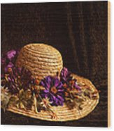 Straw Hat And Flowers Wood Print