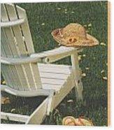 Straw Hat On Chair Wood Print
