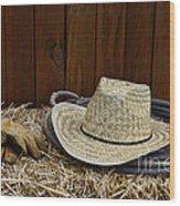Straw Hat  On  Hay Wood Print