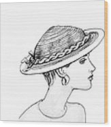 Straw Hat Wood Print by Sarah Parks