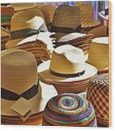 Straw Hats Wood Print