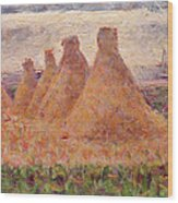 Straw Stacks Wood Print by Georges Pierre Seurat