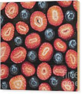 Strawberries And Blueberries Wood Print