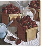 Strawberries And Cream 1997 Wood Print